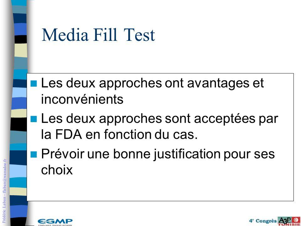 Frédéric Laban – flaban@wanadoo.fr Les deux approches ont avantages et inconvénients Les deux approches sont acceptées par la FDA en fonction du cas.