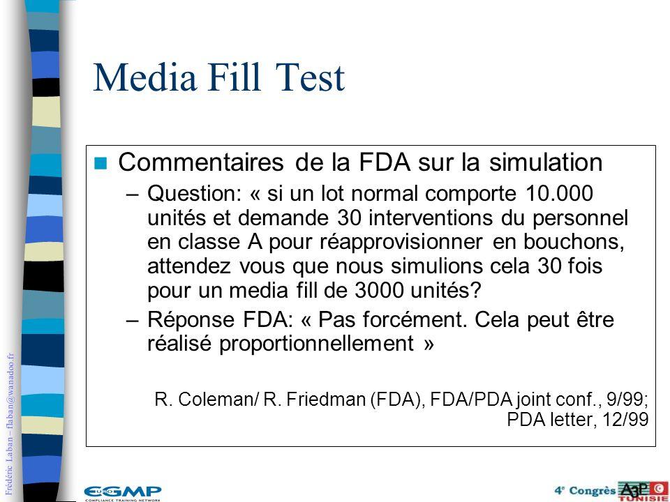Frédéric Laban – flaban@wanadoo.fr Commentaires de la FDA sur la simulation –Question: « si un lot normal comporte 10.000 unités et demande 30 interve