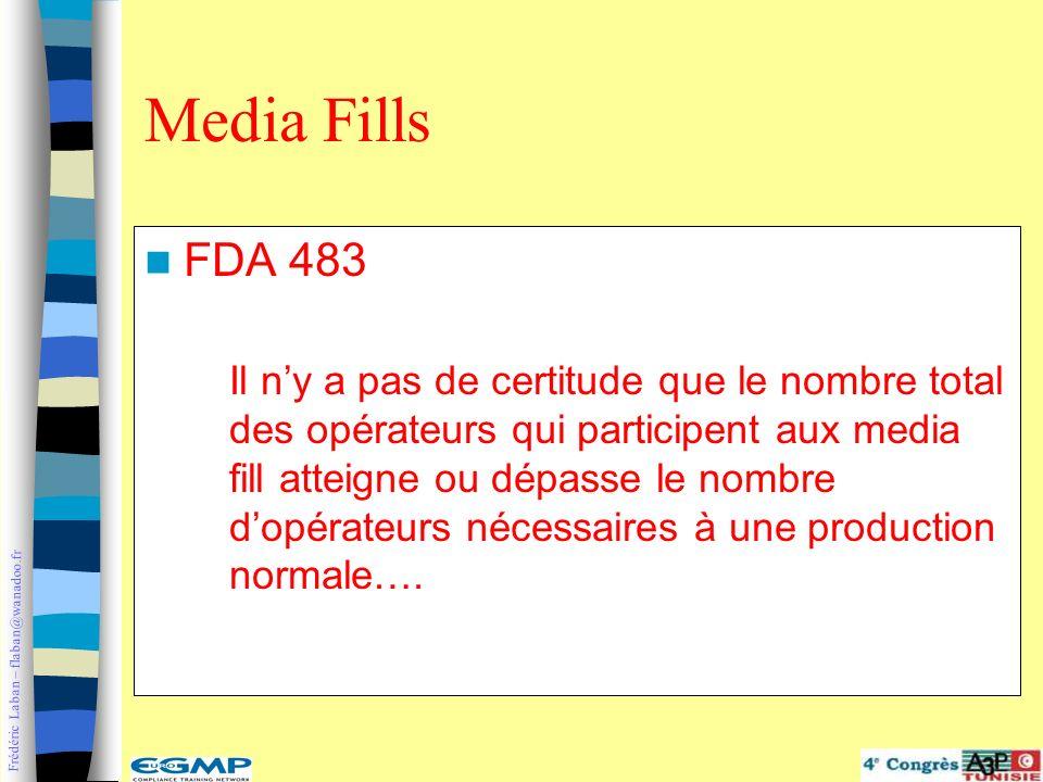 Frédéric Laban – flaban@wanadoo.fr FDA 483 Il ny a pas de certitude que le nombre total des opérateurs qui participent aux media fill atteigne ou dépa