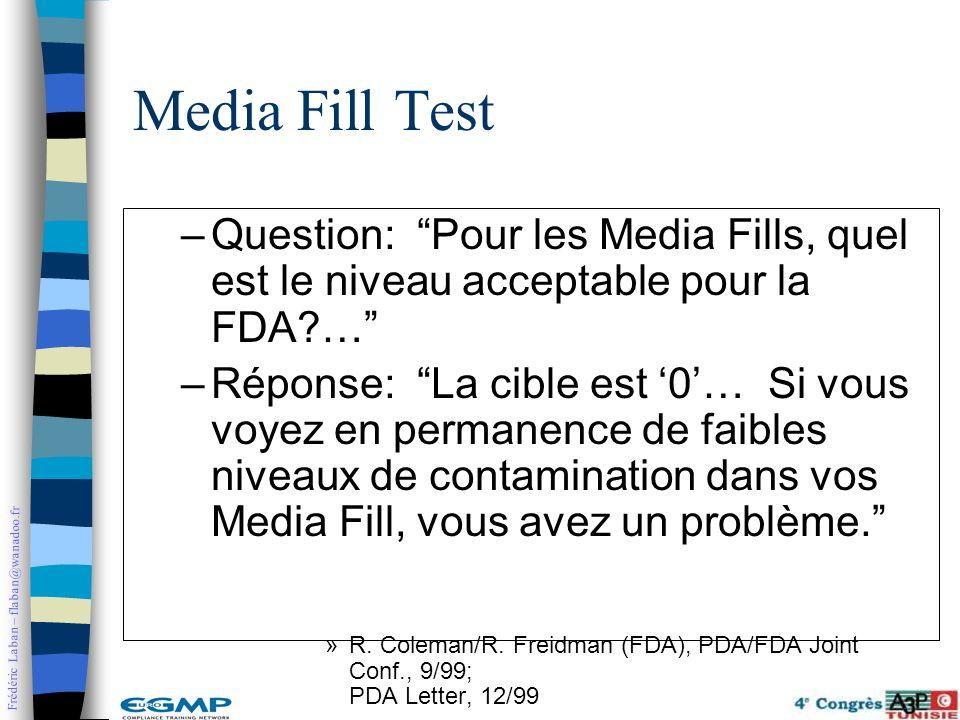 Frédéric Laban – flaban@wanadoo.fr Media Fill Test –Question: Pour les Media Fills, quel est le niveau acceptable pour la FDA?… –Réponse: La cible est