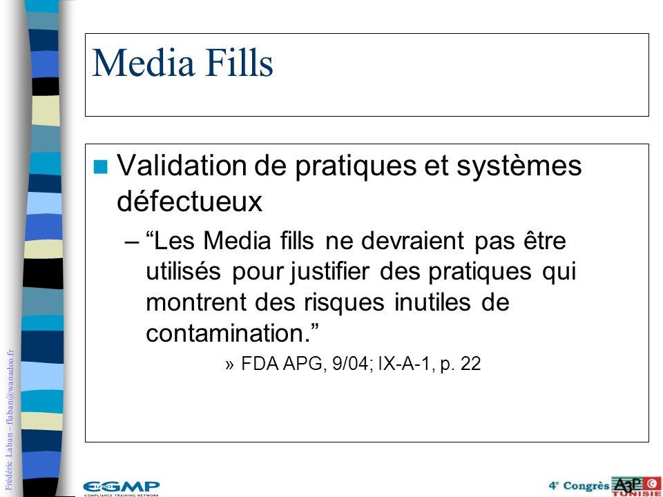 Frédéric Laban – flaban@wanadoo.fr Media Fills Validation de pratiques et systèmes défectueux –Les Media fills ne devraient pas être utilisés pour jus