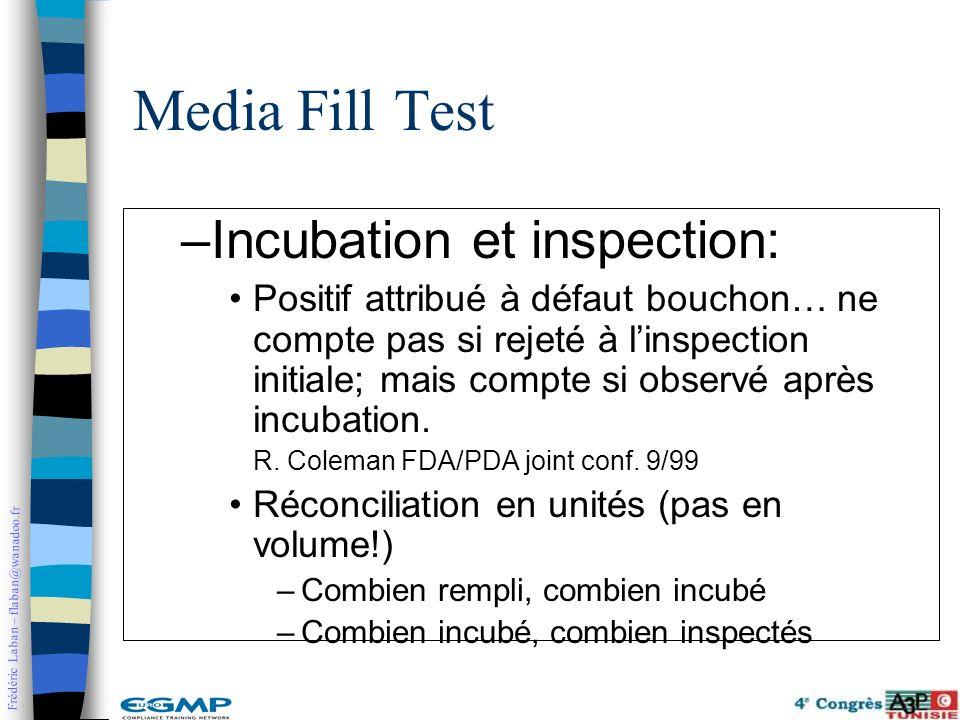 Frédéric Laban – flaban@wanadoo.fr –Incubation et inspection: Positif attribué à défaut bouchon… ne compte pas si rejeté à linspection initiale; mais