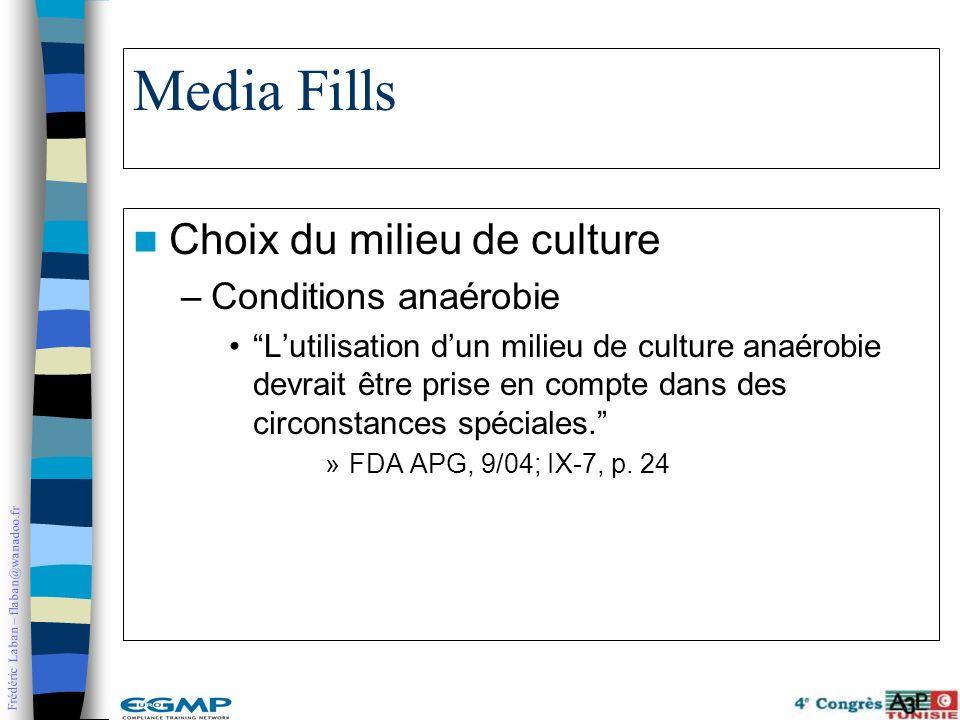 Frédéric Laban – flaban@wanadoo.fr Media Fills Choix du milieu de culture –Conditions anaérobie Lutilisation dun milieu de culture anaérobie devrait ê