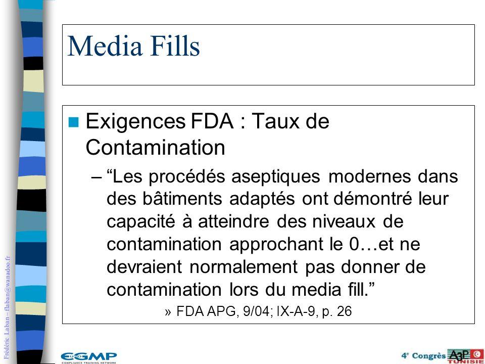 Frédéric Laban – flaban@wanadoo.fr Media Fills Exigences FDA : Taux de Contamination –Les procédés aseptiques modernes dans des bâtiments adaptés ont