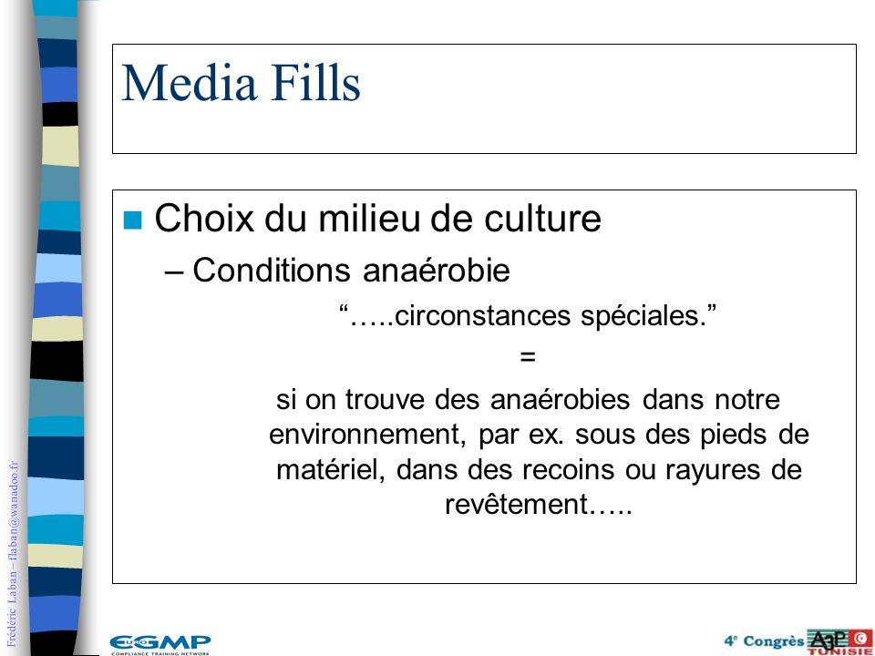 Frédéric Laban – flaban@wanadoo.fr Media Fills Choix du milieu de culture –Conditions anaérobie …..circonstances spéciales. = si on trouve des anaérob