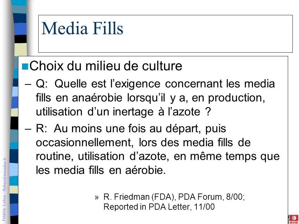 Frédéric Laban – flaban@wanadoo.fr Media Fills Choix du milieu de culture –Q: Quelle est lexigence concernant les media fills en anaérobie lorsquil y