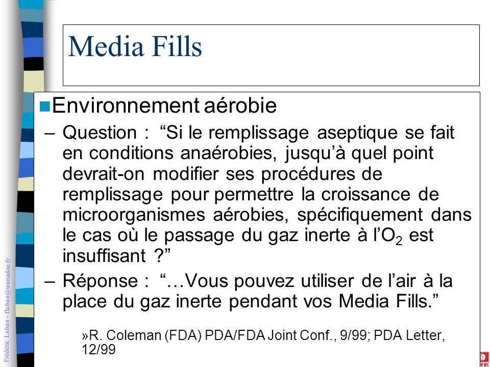 Frédéric Laban – flaban@wanadoo.fr Media Fills Environnement aérobie –Question : Si le remplissage aseptique se fait en conditions anaérobies, jusquà