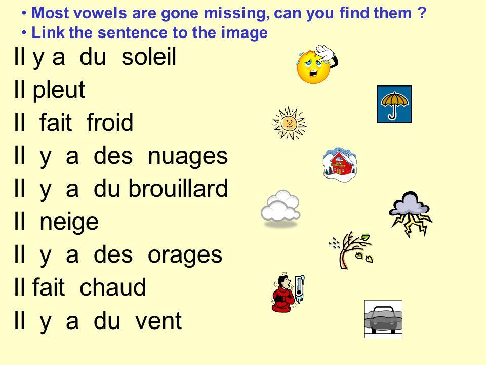 Most vowels are gone missing, can you find them ? Link the sentence to the image Il y a du soleil Il pleut Il fait froid Il y a des nuages Il y a du b