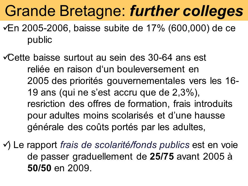Grande Bretagne: further colleges En 2005-2006, baisse subite de 17% (600,000) de ce public Cette baisse surtout au sein des 30-64 ans est reliée en raison dun bouleversement en 2005 des priorités gouvernementales vers les 16- 19 ans (qui ne sest accru que de 2,3%), resriction des offres de formation, frais introduits pour adultes moins scolarisés et dune hausse générale des coûts portés par les adultes, ) Le rapport frais de scolarité/fonds publics est en voie de passer graduellement de 25/75 avant 2005 à 50/50 en 2009.