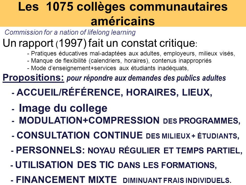 Les 1075 collèges communautaires américains Commission for a nation of lifelong learning Un rapport ( 1997) fait un constat critique : - Pratiques éducatives mal-adaptées aux adultes, employeurs, milieux visés, - Manque de flexibilité (calendriers, horaires), contenus inappropriés - Mode denseignement+services aux étudiants inadéquats, Propositions: pour répondre aux demandes des publics adultes - ACCUEIL/RÉFÉRENCE, HORAIRES, LIEUX, - Image du college - MODULATION+COMPRESSION DES PROGRAMMES, - CONSULTATION CONTINUE DES MILIEUX + ÉTUDIANTS, - PERSONNELS: NOYAU RÉGULIER ET TEMPS PARTIEL, - UTILISATION DES TIC DANS LES FORMATIONS, - FINANCEMENT MIXTE DIMINUANT FRAIS INDIVIDUELS.
