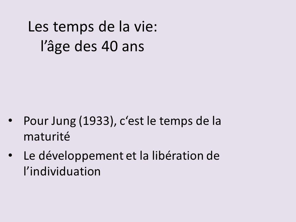 Les temps de la vie: lâge des 40 ans Pour Jung (1933), cest le temps de la maturité Le développement et la libération de lindividuation