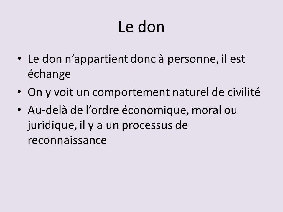Le don Le don nappartient donc à personne, il est échange On y voit un comportement naturel de civilité Au-delà de lordre économique, moral ou juridique, il y a un processus de reconnaissance