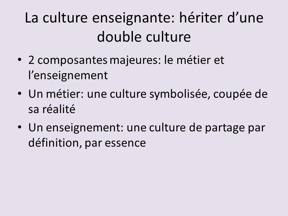 La culture enseignante: hériter dune double culture 2 composantes majeures: le métier et lenseignement Un métier: une culture symbolisée, coupée de sa réalité Un enseignement: une culture de partage par définition, par essence