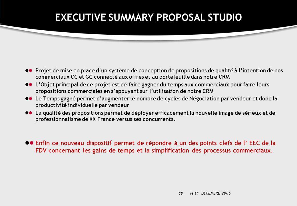EXECUTIVE SUMMARY PROPOSAL STUDIO Projet de mise en place dun système de conception de propositions de qualité à lintention de nos commerciaux CC et G