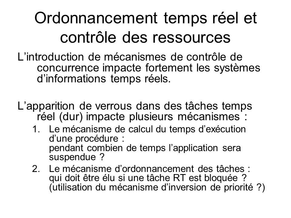 Ordonnancement temps réel et contrôle des ressources Lintroduction de mécanismes de contrôle de concurrence impacte fortement les systèmes dinformatio