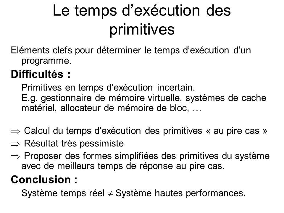 Le temps dexécution des primitives Eléments clefs pour déterminer le temps dexécution dun programme. Difficultés : Primitives en temps dexécution ince