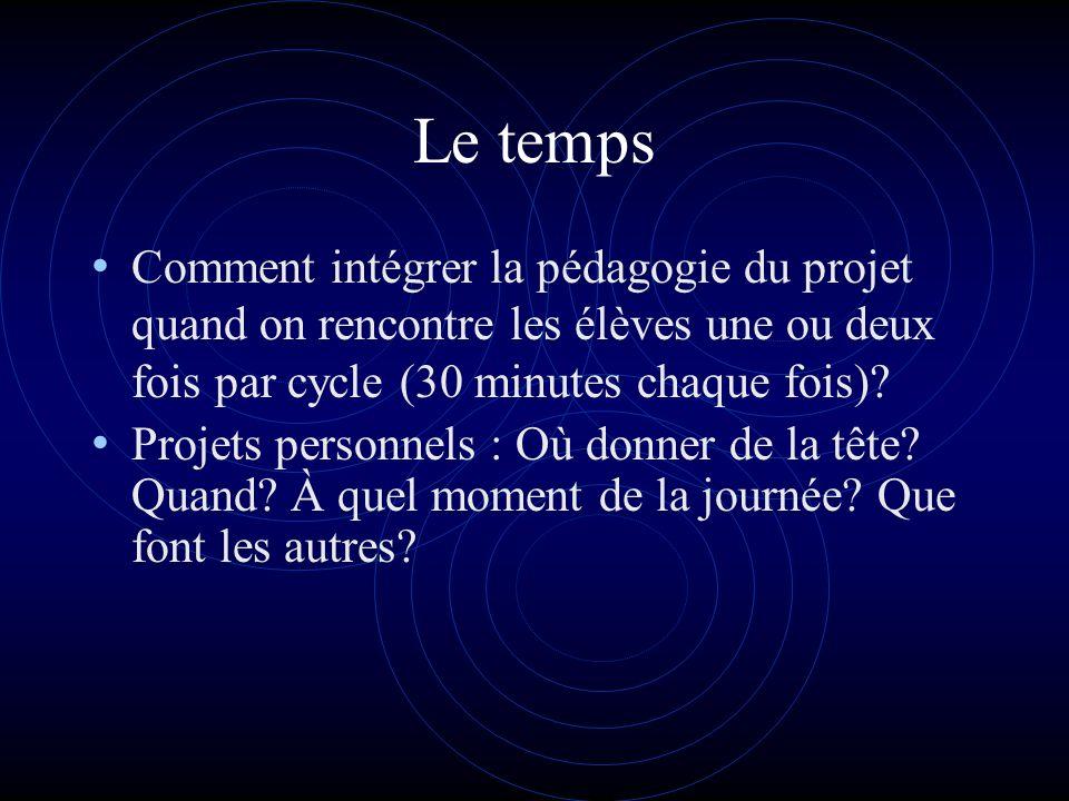 Le temps Comment intégrer la pédagogie du projet quand on rencontre les élèves une ou deux fois par cycle (30 minutes chaque fois).