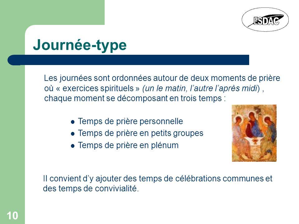 10 Journée-type Les journées sont ordonnées autour de deux moments de prière où « exercices spirituels » (un le matin, lautre laprès midi), chaque mom