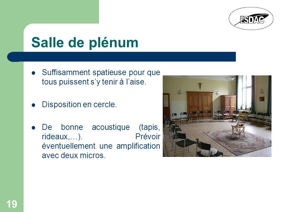 19 Salle de plénum Suffisamment spatieuse pour que tous puissent sy tenir à laise. Disposition en cercle. De bonne acoustique (tapis, rideaux,…). Prév