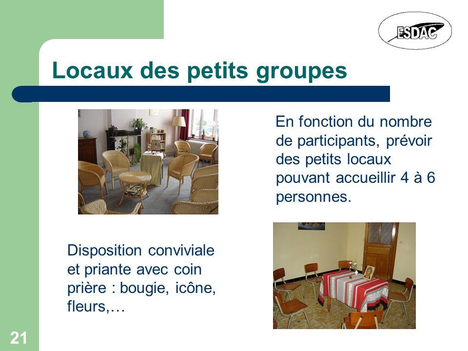 21 Locaux des petits groupes En fonction du nombre de participants, prévoir des petits locaux pouvant accueillir 4 à 6 personnes. Disposition convivia