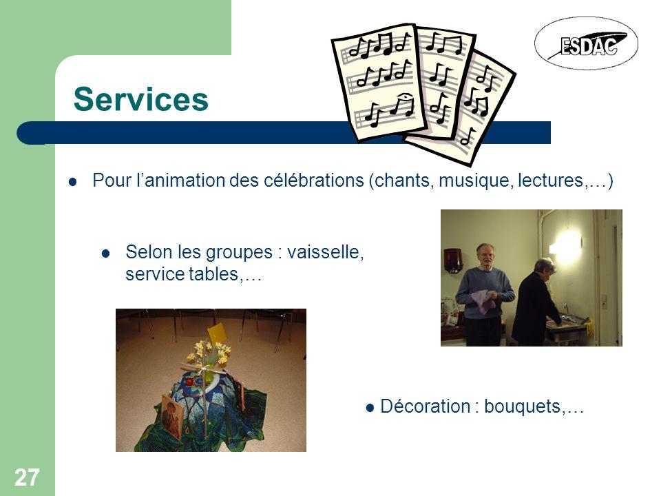 27 Services Pour lanimation des célébrations (chants, musique, lectures,…) Décoration : bouquets,… Selon les groupes : vaisselle, service tables,…