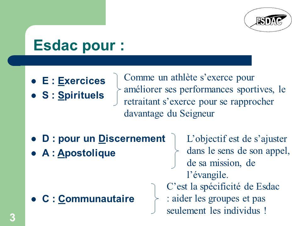 3 Esdac pour : E : Exercices S : Spirituels Comme un athlète sexerce pour améliorer ses performances sportives, le retraitant sexerce pour se rapproch