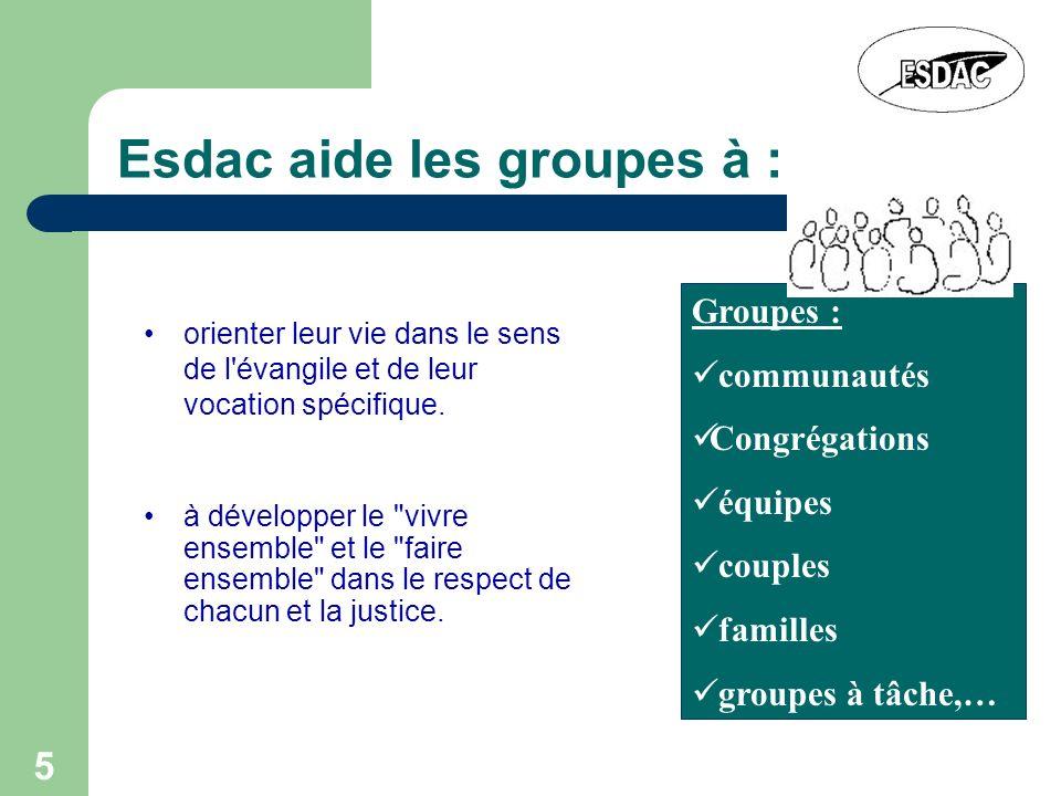5 Esdac aide les groupes à : orienter leur vie dans le sens de l'évangile et de leur vocation spécifique. Groupes : communautés Congrégations équipes