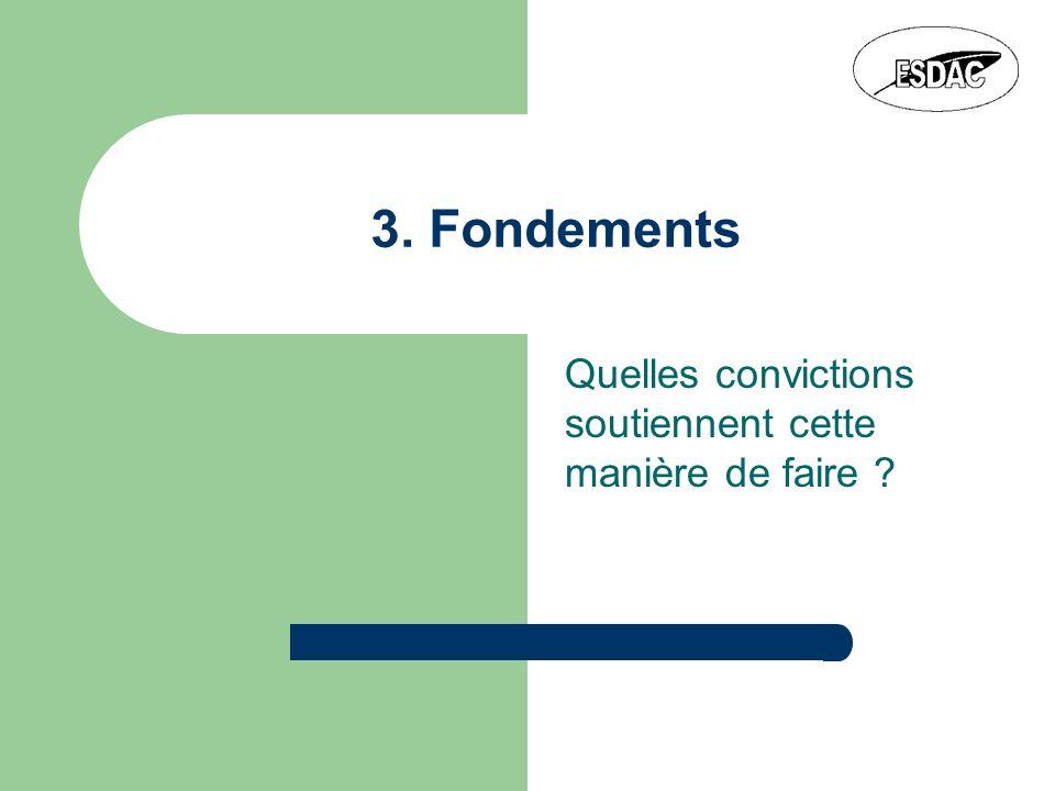 3. Fondements Quelles convictions soutiennent cette manière de faire ?