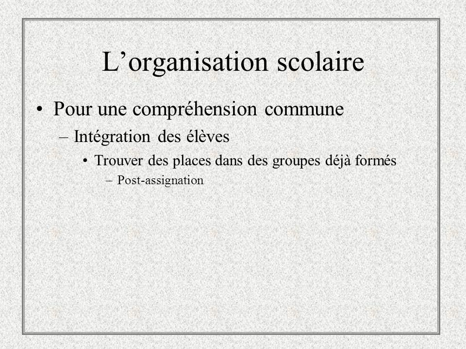 Lorganisation scolaire Pour une compréhension commune –Intégration des élèves Trouver des places dans des groupes déjà formés –Post-assignation