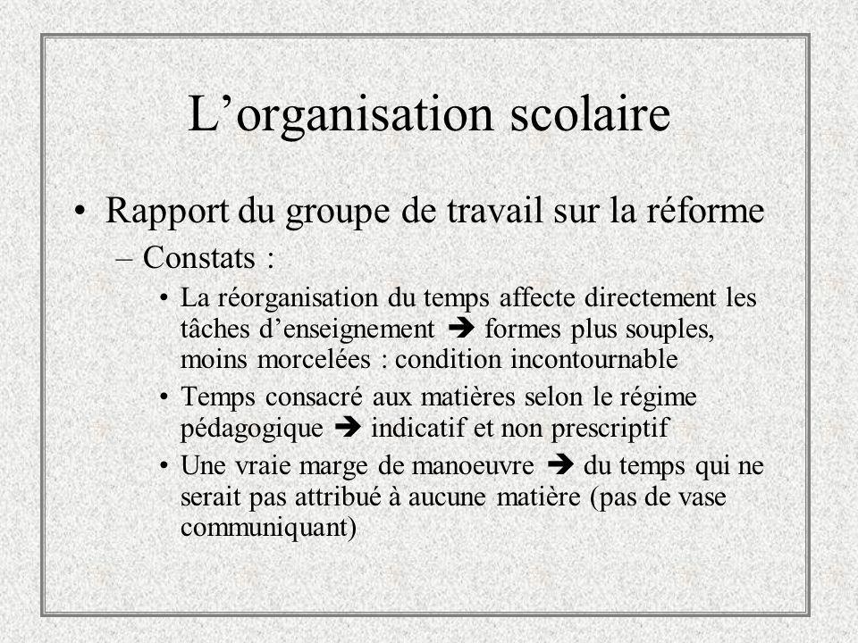 Lorganisation scolaire Rapport du groupe de travail sur la réforme –Constats : La réorganisation du temps affecte directement les tâches denseignement