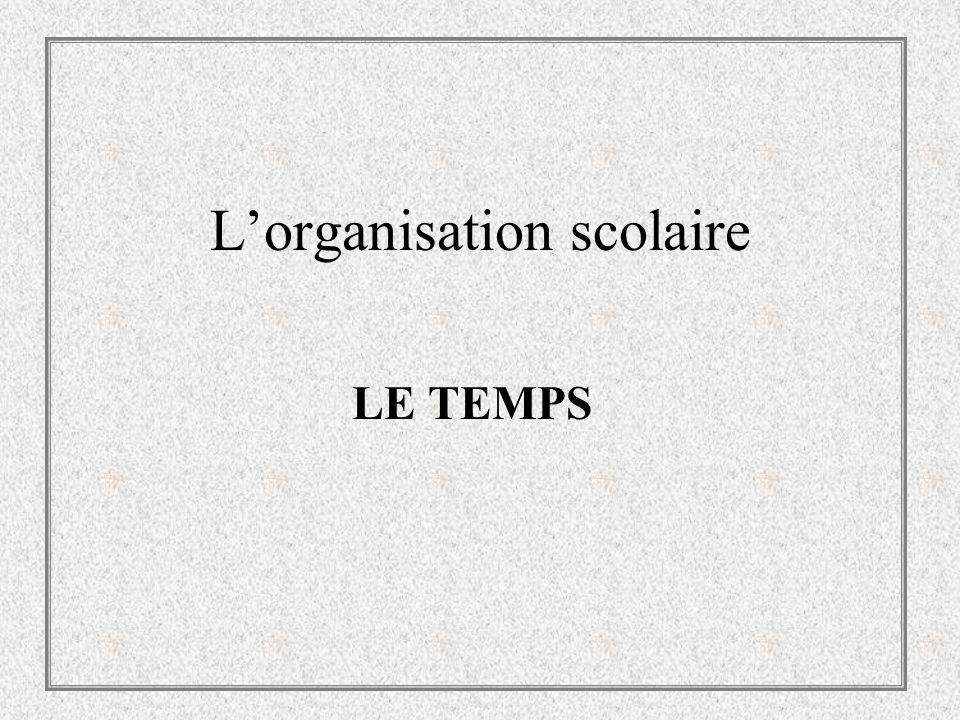 Lorganisation scolaire LE TEMPS
