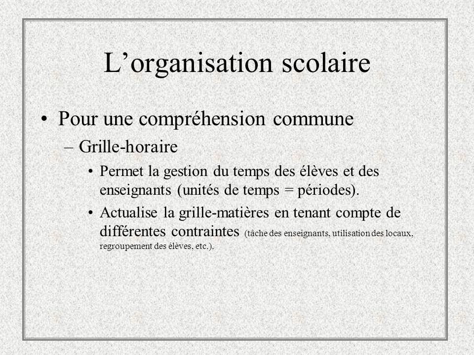 Lorganisation scolaire Pour une compréhension commune –Horaire maître Structure la grille-matières.