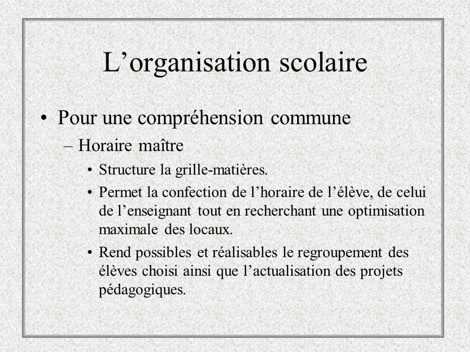 Lorganisation scolaire Pour une compréhension commune –Horaire maître Structure la grille-matières. Permet la confection de lhoraire de lélève, de cel