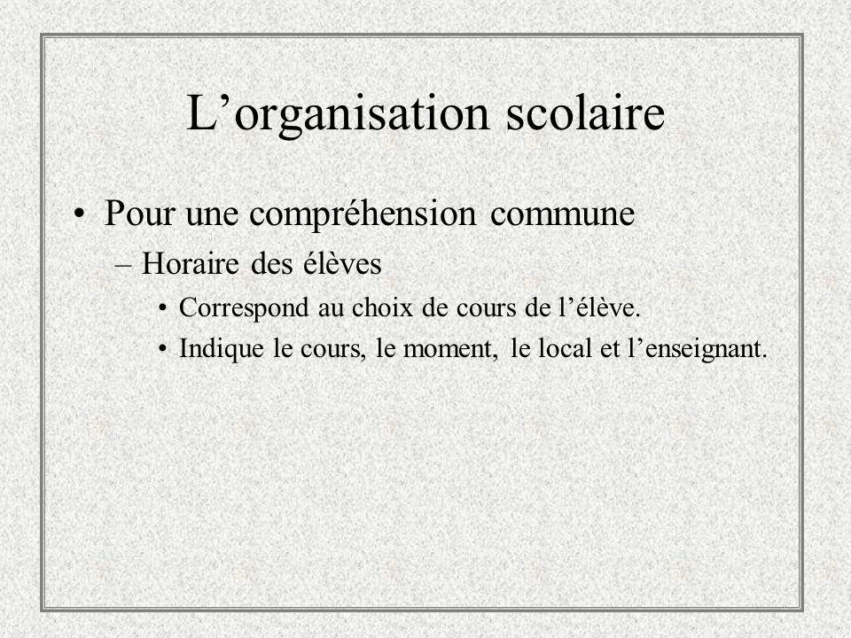 Lorganisation scolaire Pour une compréhension commune –Horaire des enseignants Correspond à sa tâche éducative (enseignement, encadrement et autres items administratifs).