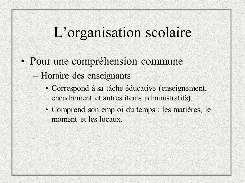 Lorganisation scolaire Pour une compréhension commune –Horaire des enseignants Correspond à sa tâche éducative (enseignement, encadrement et autres it