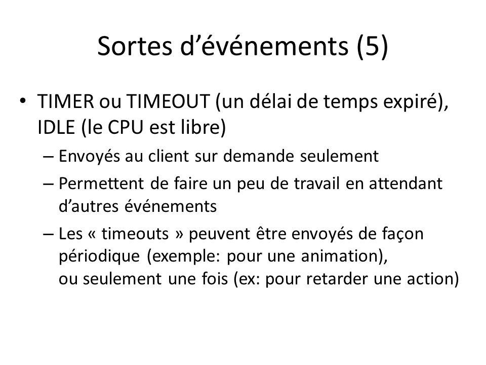 Sortes dévénements (5) TIMER ou TIMEOUT (un délai de temps expiré), IDLE (le CPU est libre) – Envoyés au client sur demande seulement – Permettent de faire un peu de travail en attendant dautres événements – Les « timeouts » peuvent être envoyés de façon périodique (exemple: pour une animation), ou seulement une fois (ex: pour retarder une action)
