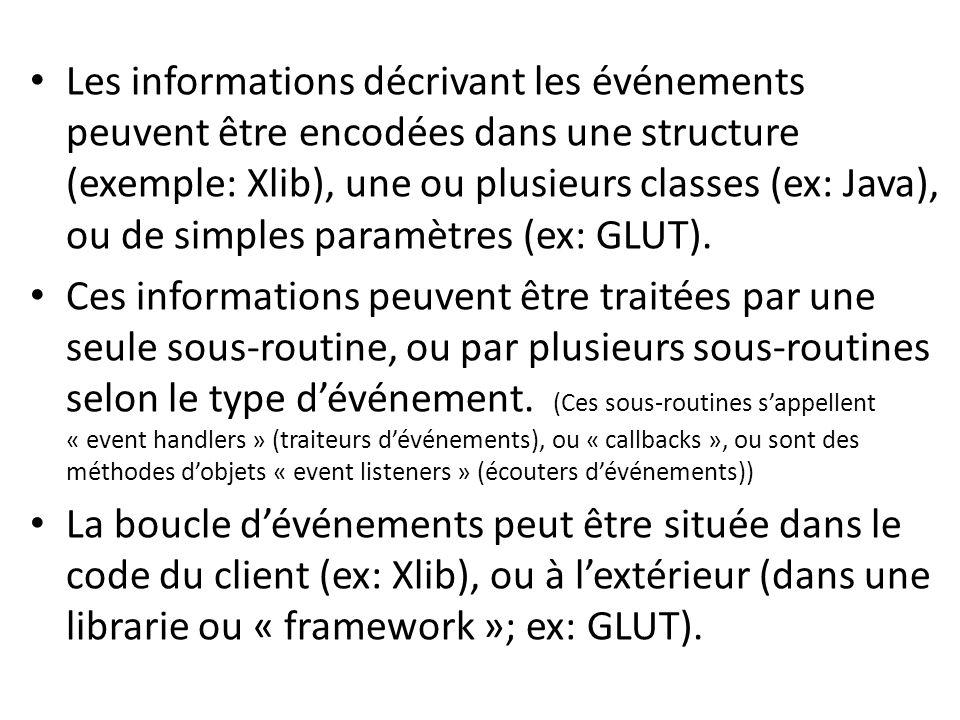 Les informations décrivant les événements peuvent être encodées dans une structure (exemple: Xlib), une ou plusieurs classes (ex: Java), ou de simples paramètres (ex: GLUT).