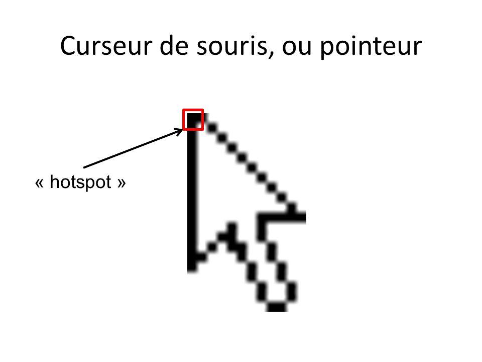 Curseur de souris, ou pointeur « hotspot »