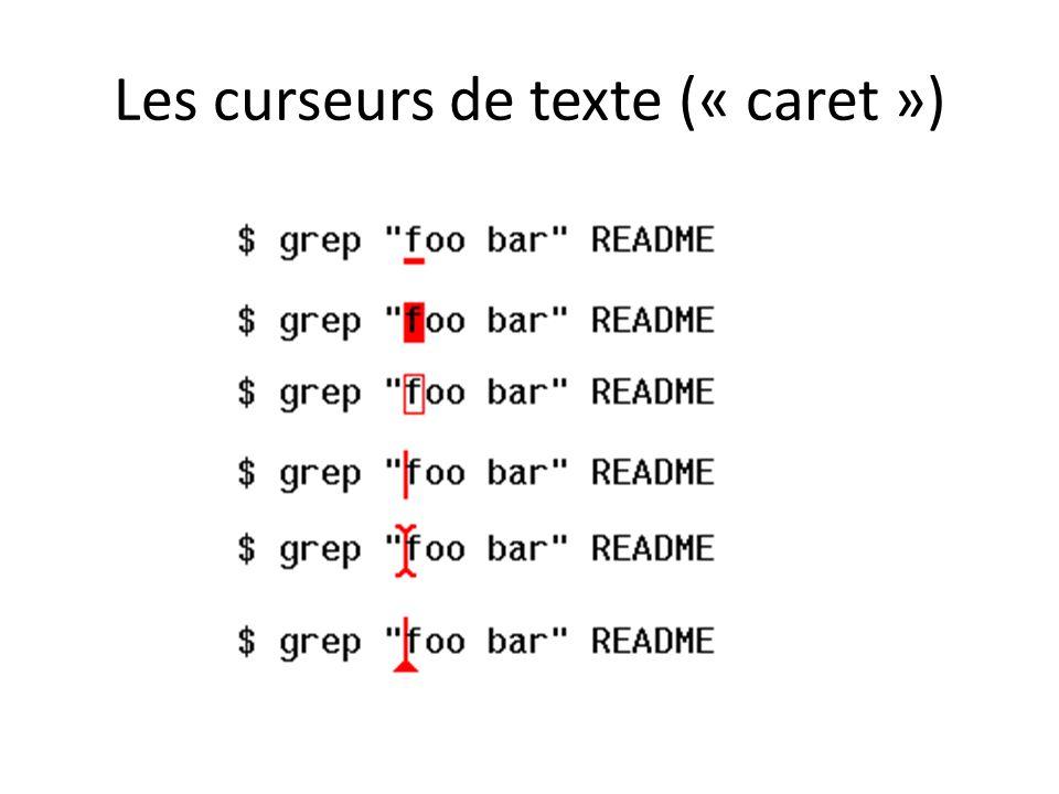 Les curseurs de texte (« caret »)