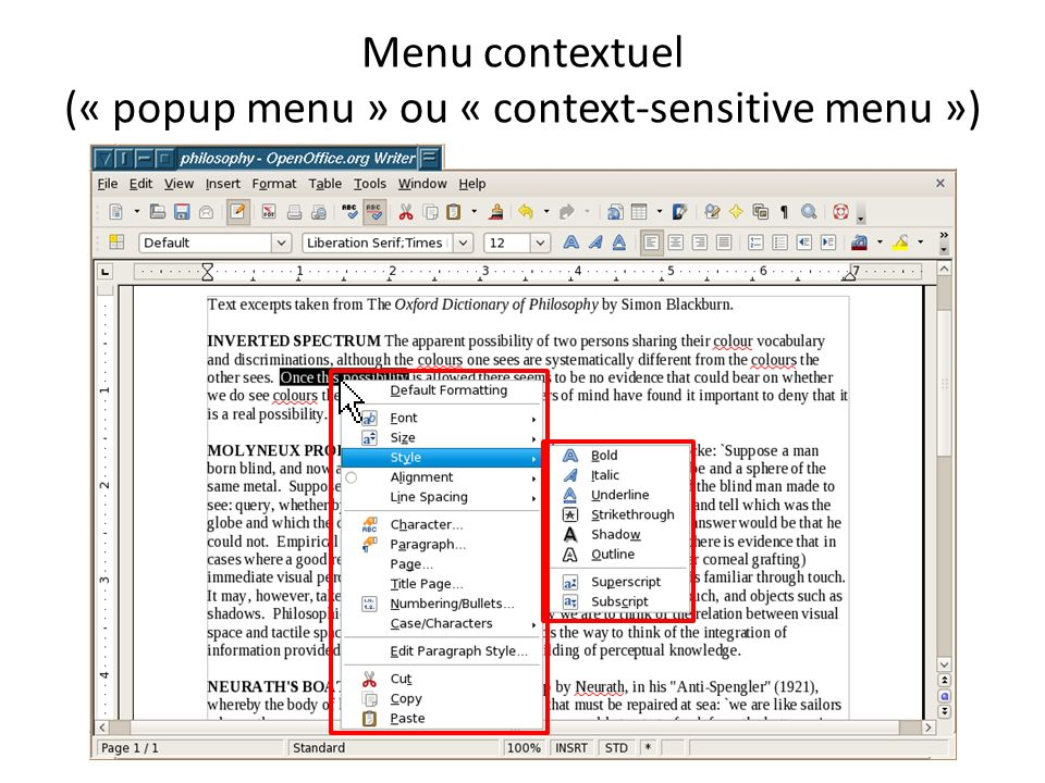 Menu contextuel (« popup menu » ou « context-sensitive menu »)