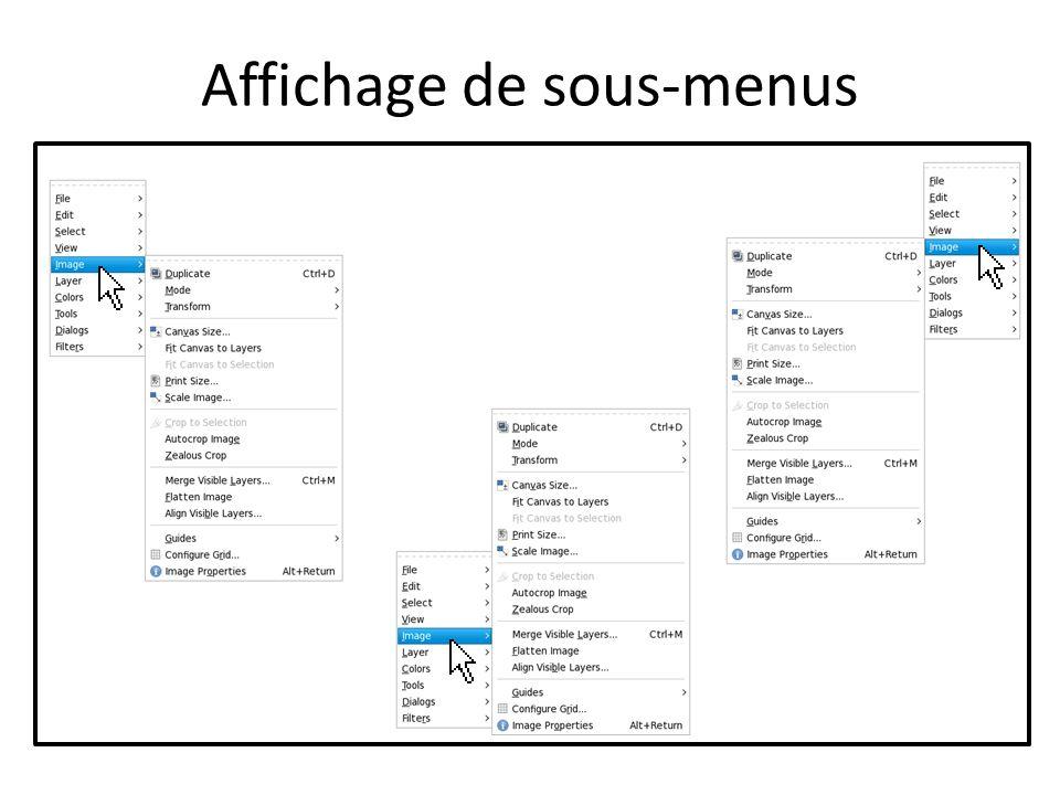 Affichage de sous-menus