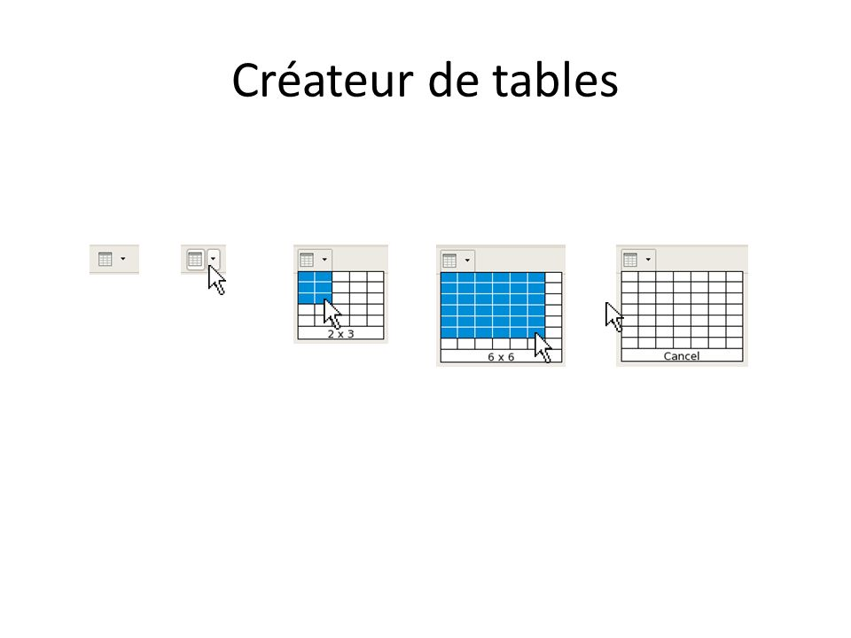 Créateur de tables
