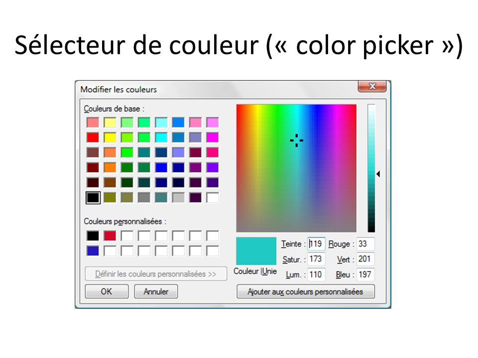 Sélecteur de couleur (« color picker »)