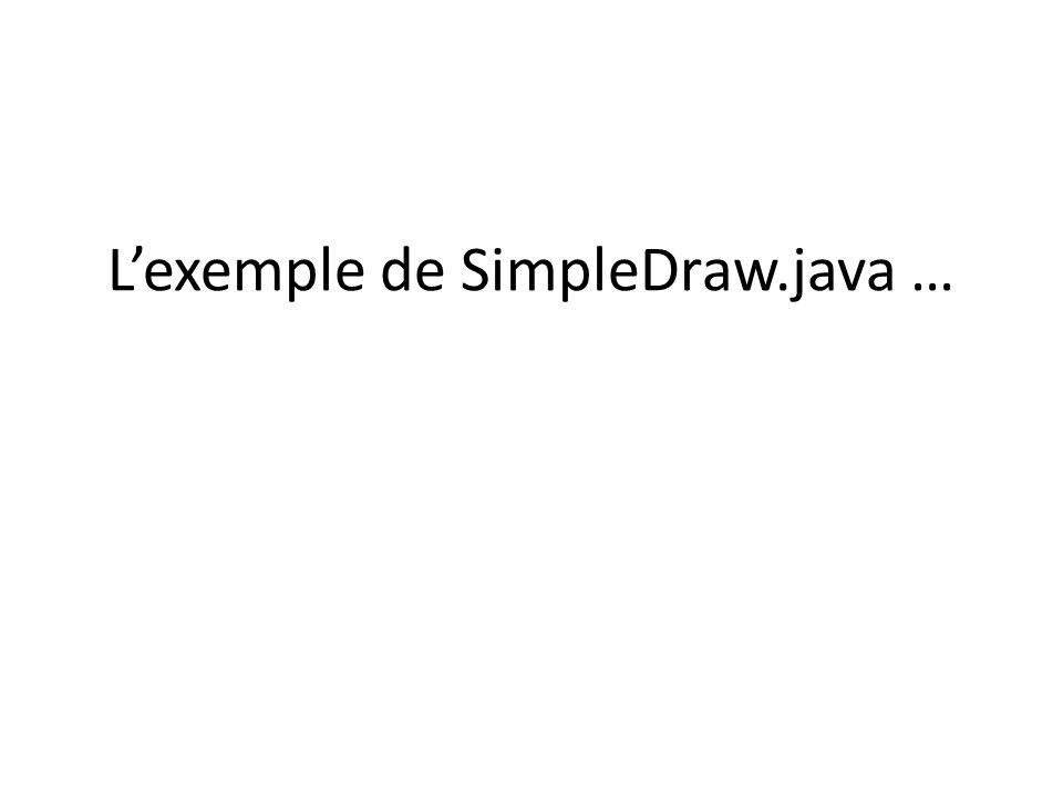 Lexemple de SimpleDraw.java …