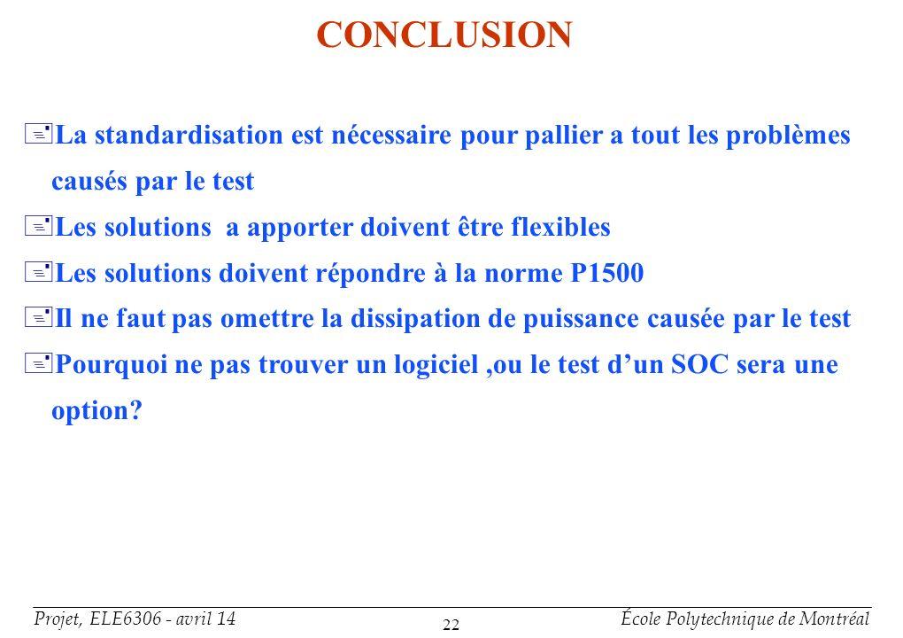 Projet, ELE6306 - avril 14École Polytechnique de Montréal 22 CONCLUSION +La standardisation est nécessaire pour pallier a tout les problèmes causés pa