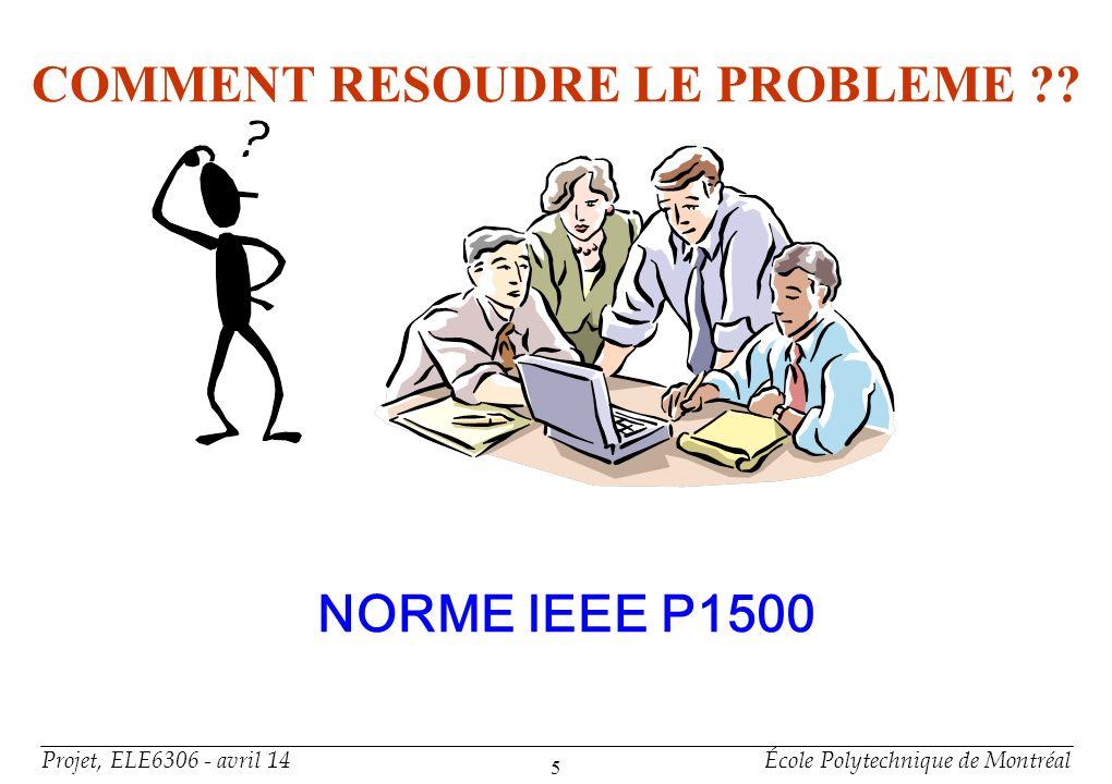 Projet, ELE6306 - avril 14École Polytechnique de Montréal 5 COMMENT RESOUDRE LE PROBLEME ?? NORME IEEE P1500