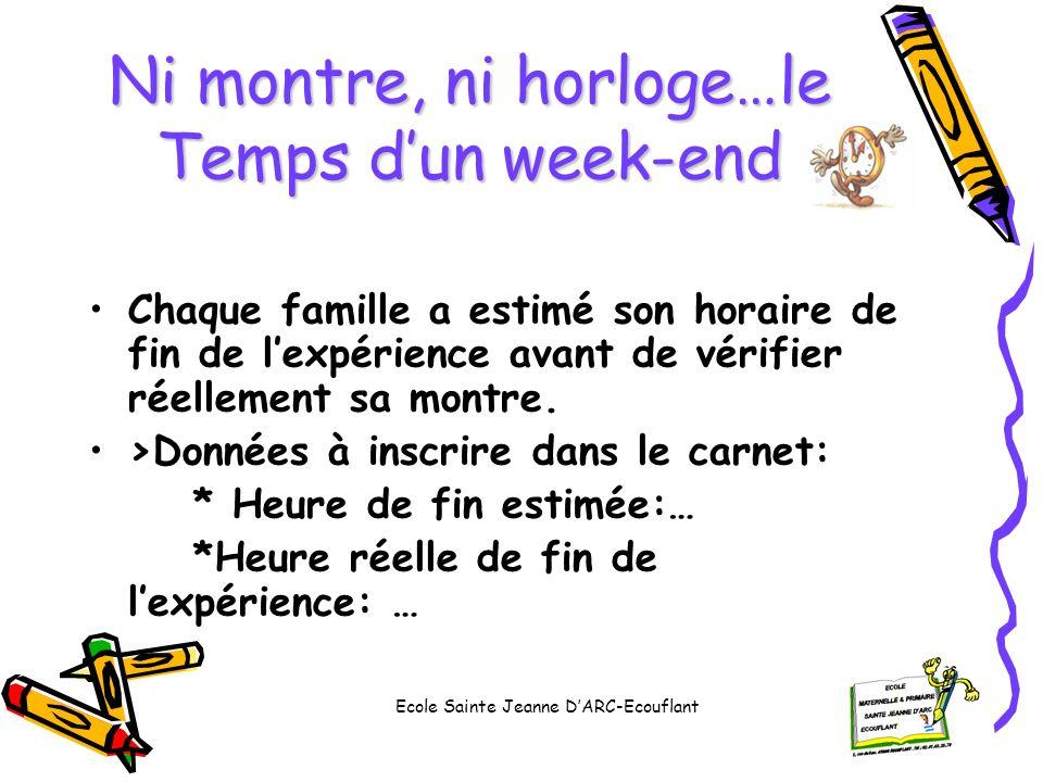 Ni montre, ni horloge…le Temps dun week-end Chaque famille a estimé son horaire de fin de lexpérience avant de vérifier réellement sa montre. >Données