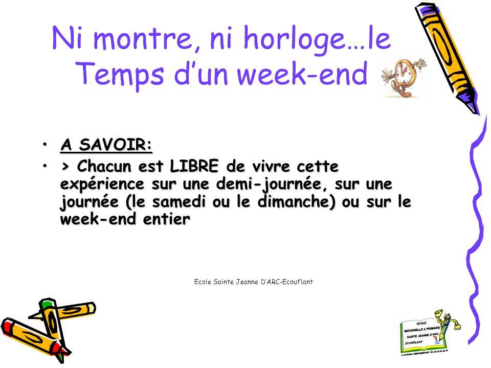 Ni montre, ni horloge…le Temps dun week-end MATERIEL:MATERIEL: > 1 carnet de bord par famille >Des « caches » pour masquer laffichage de lheure à la maison, dans la voiture….