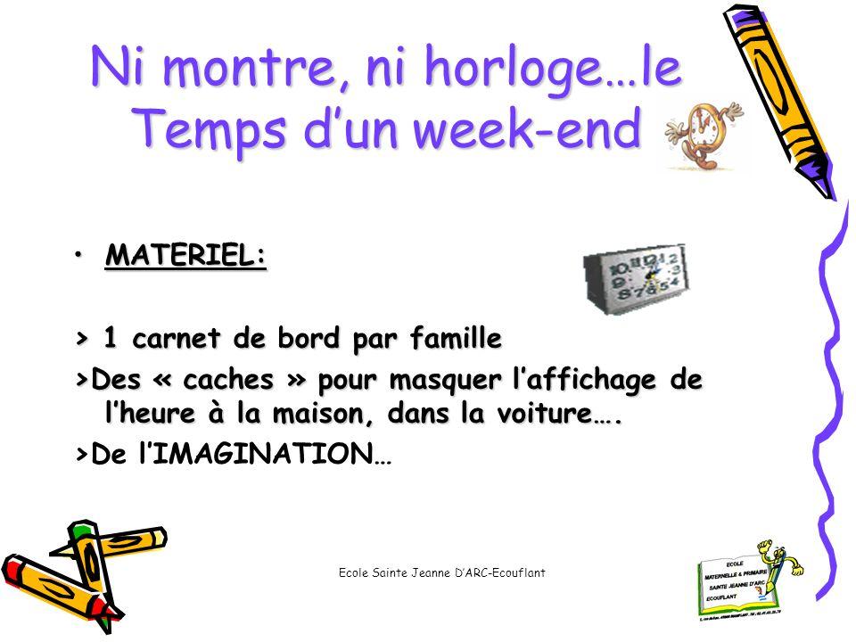 Ni montre, ni horloge…le Temps dun week-end MATERIEL:MATERIEL: > 1 carnet de bord par famille >Des « caches » pour masquer laffichage de lheure à la m