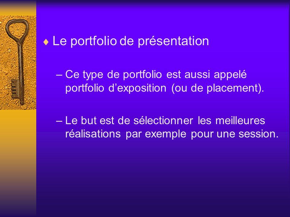 Le portfolio de présentation –Ce type de portfolio est aussi appelé portfolio dexposition (ou de placement). –Le but est de sélectionner les meilleure